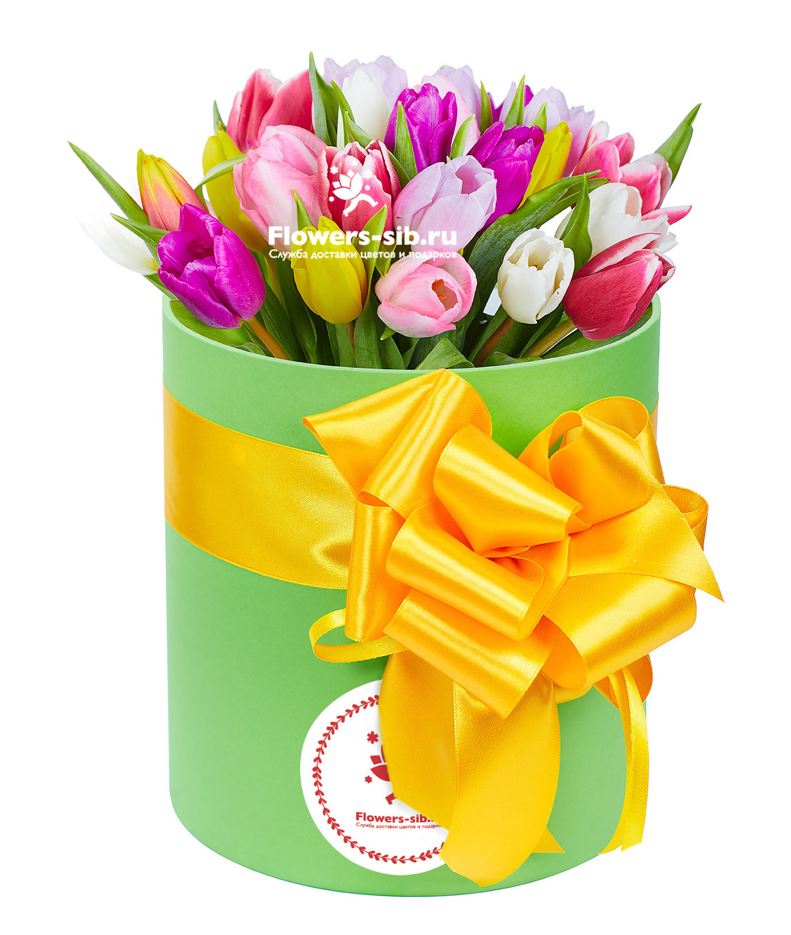 Box with tulips
